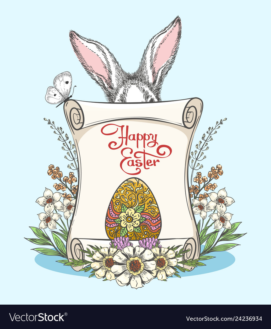 Vintage easter template vector