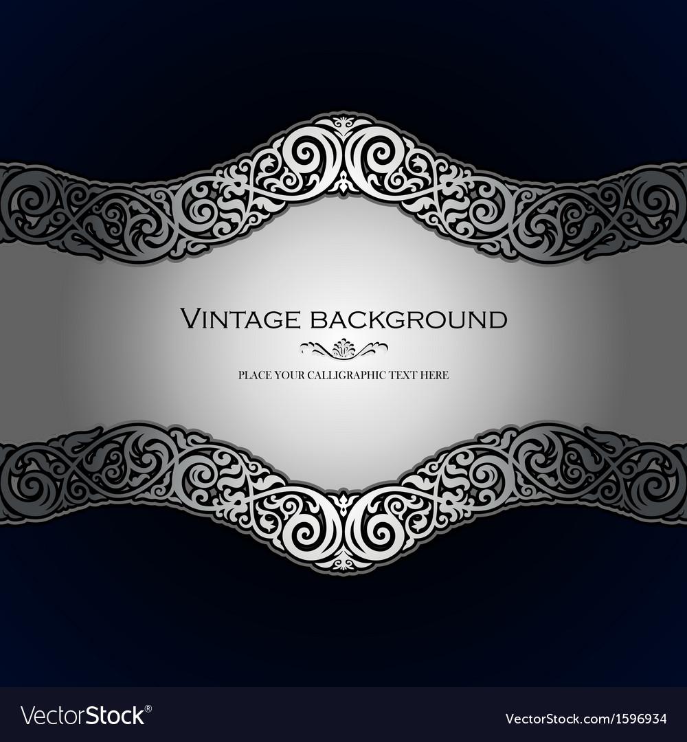 Vintage style blue ornamental background vector image