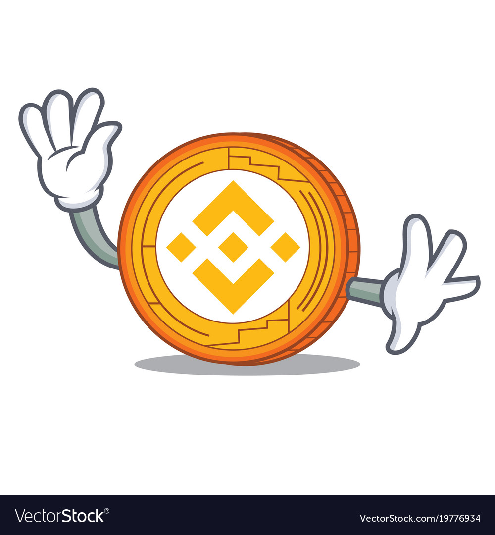 Waving binance coin character catoon