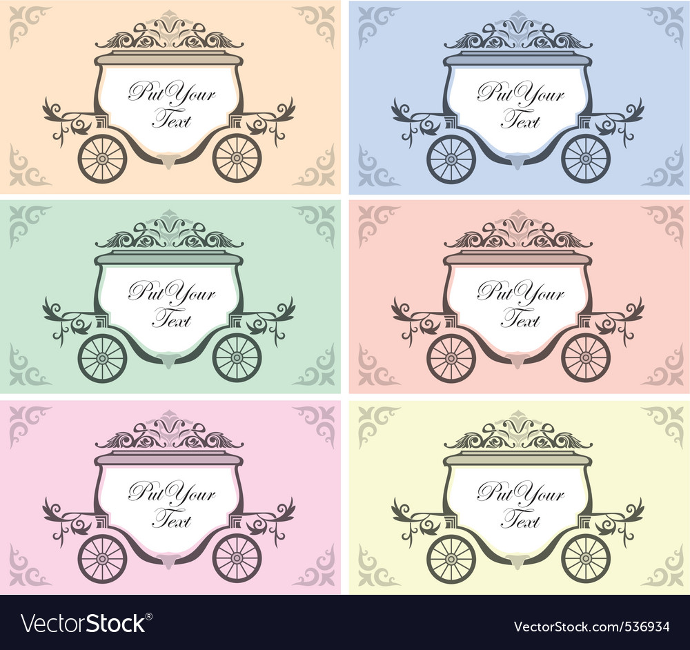 set of six color variation for invitation design with wedding carriage