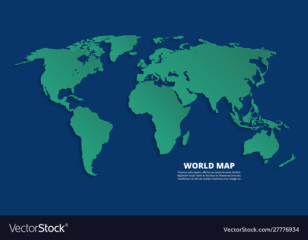 3 D Map Of The World World 3d map earth green map on blue background Vector Image