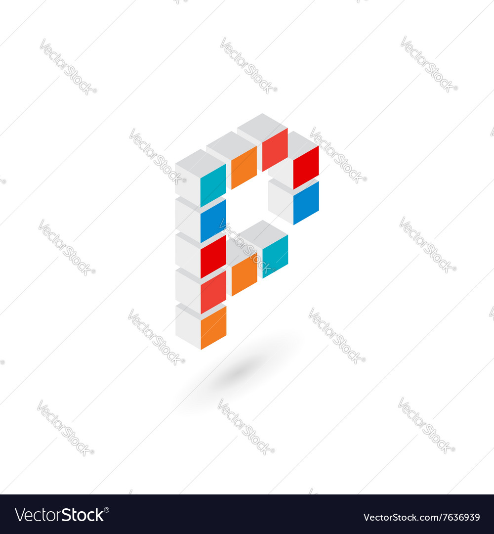 3d cube letter P logo icon design template