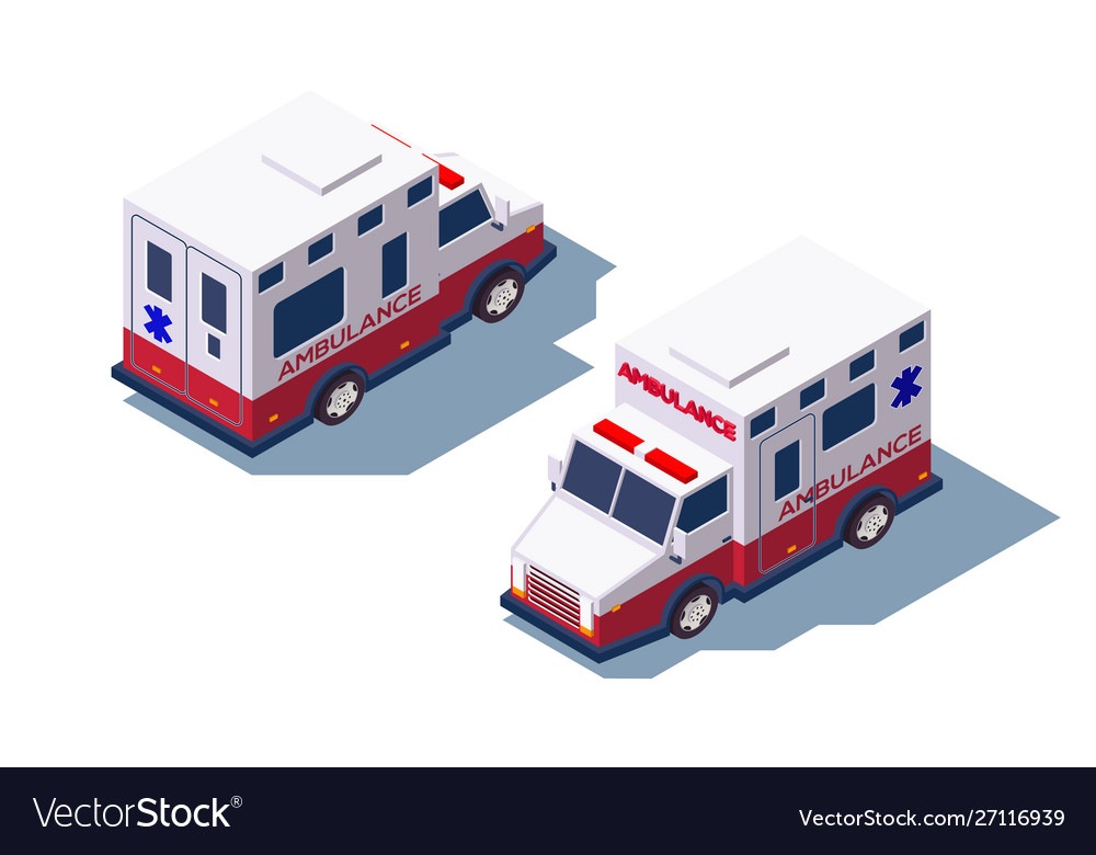 3d isometric ambulance medical car for first aid