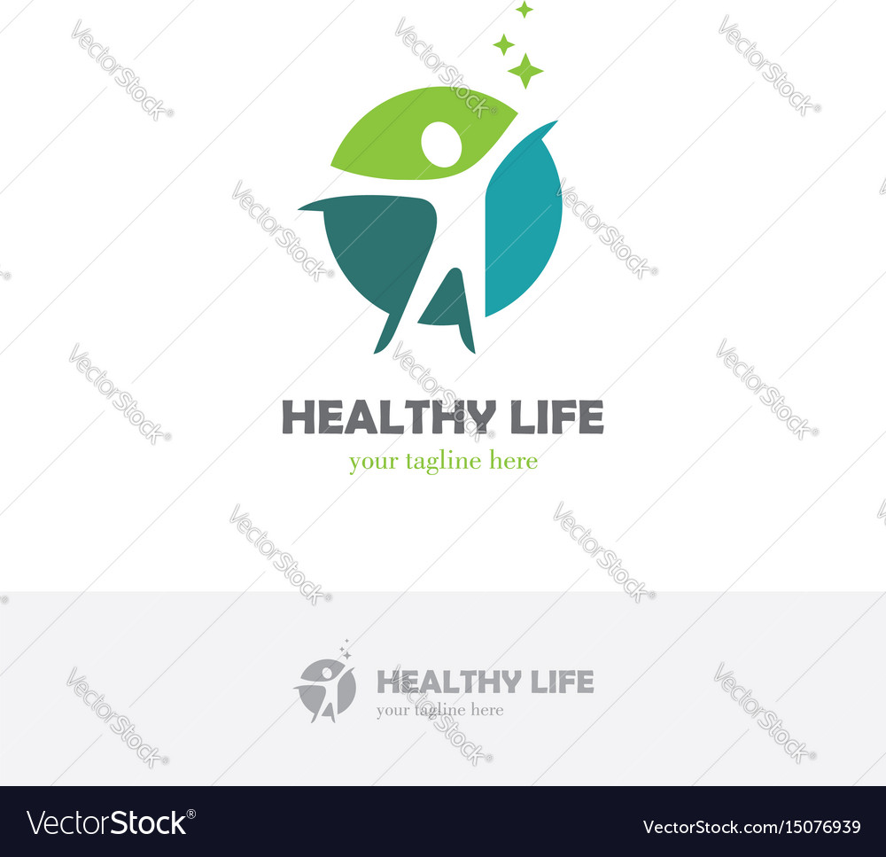 Abstract round logo with happy human silhouette vector image