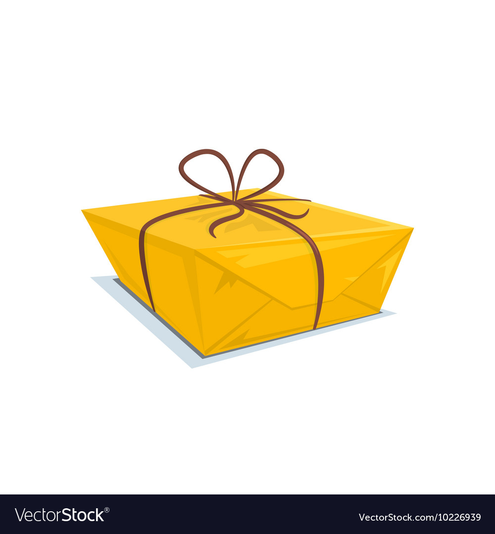 Cardboard box tied with a ribbon vector image