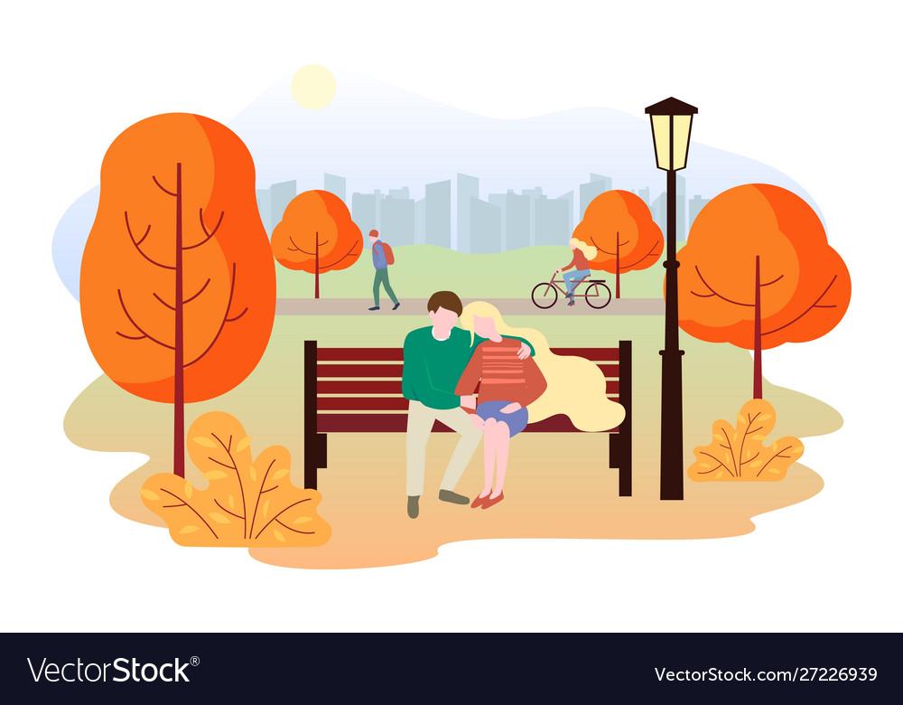 City autumn park landscape people walk in the