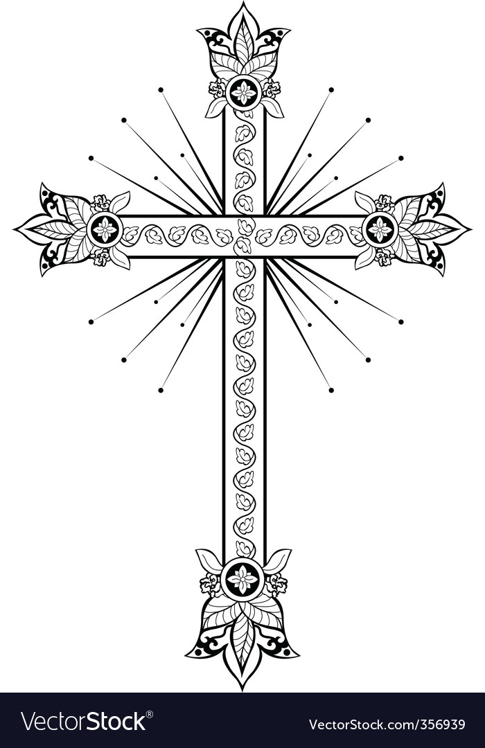 Cross with light doodle g vector