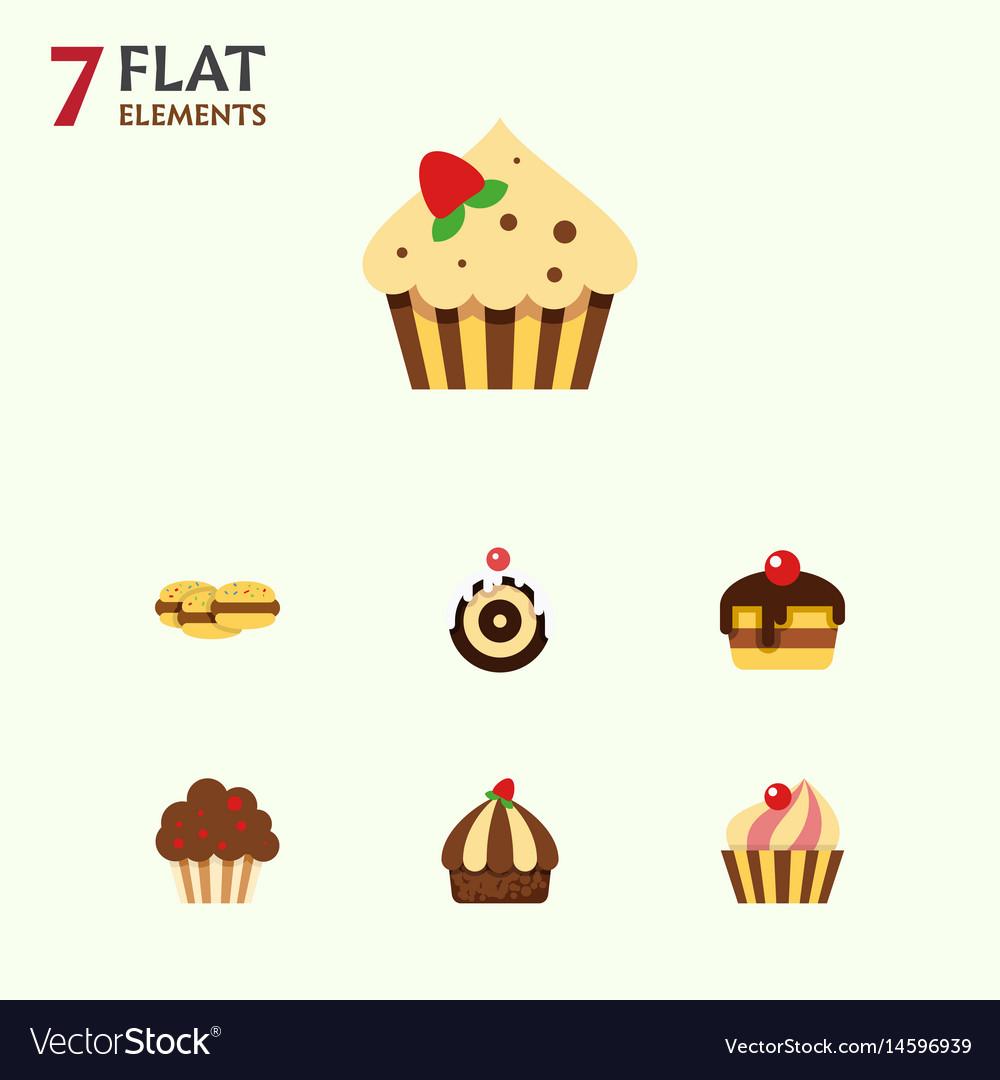 Flat cake set of sweetmeat cupcake dessert and vector image