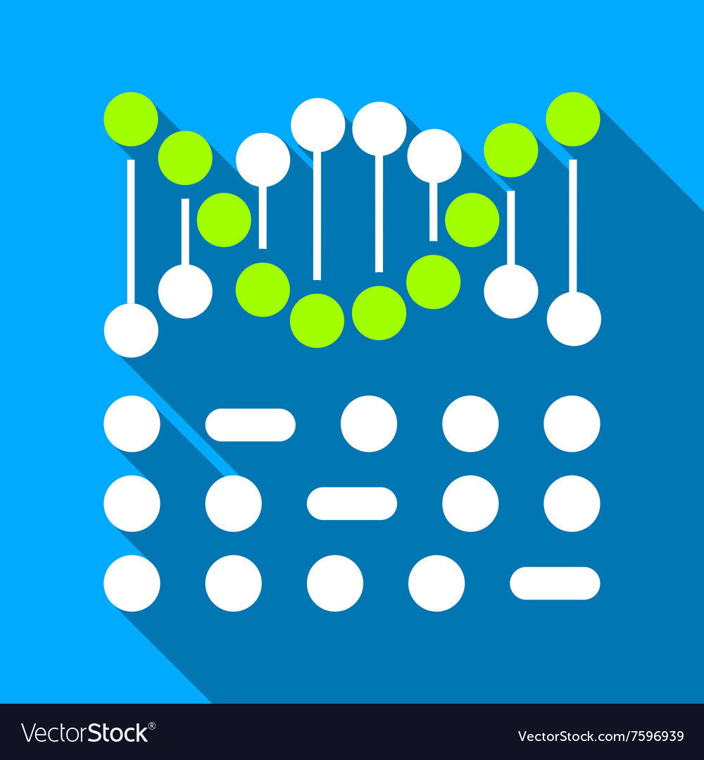 Genetic Binary Code Flat Long Shadow Square Icon