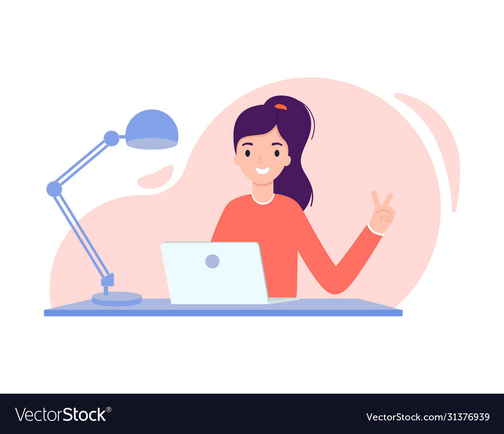 Girl Sits At A Table In Front Laptop Royalty Free Vector