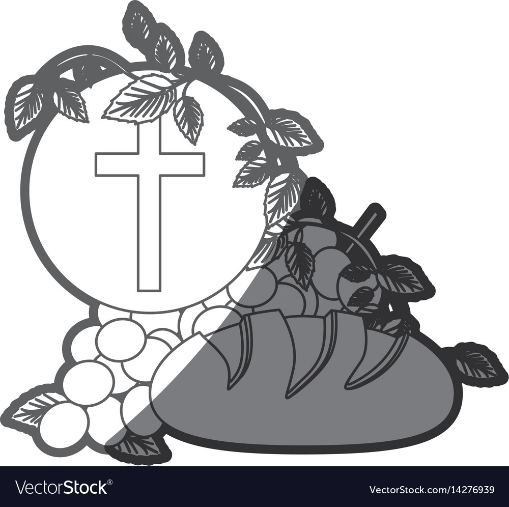 Grayscale silhouette of communion religious icons