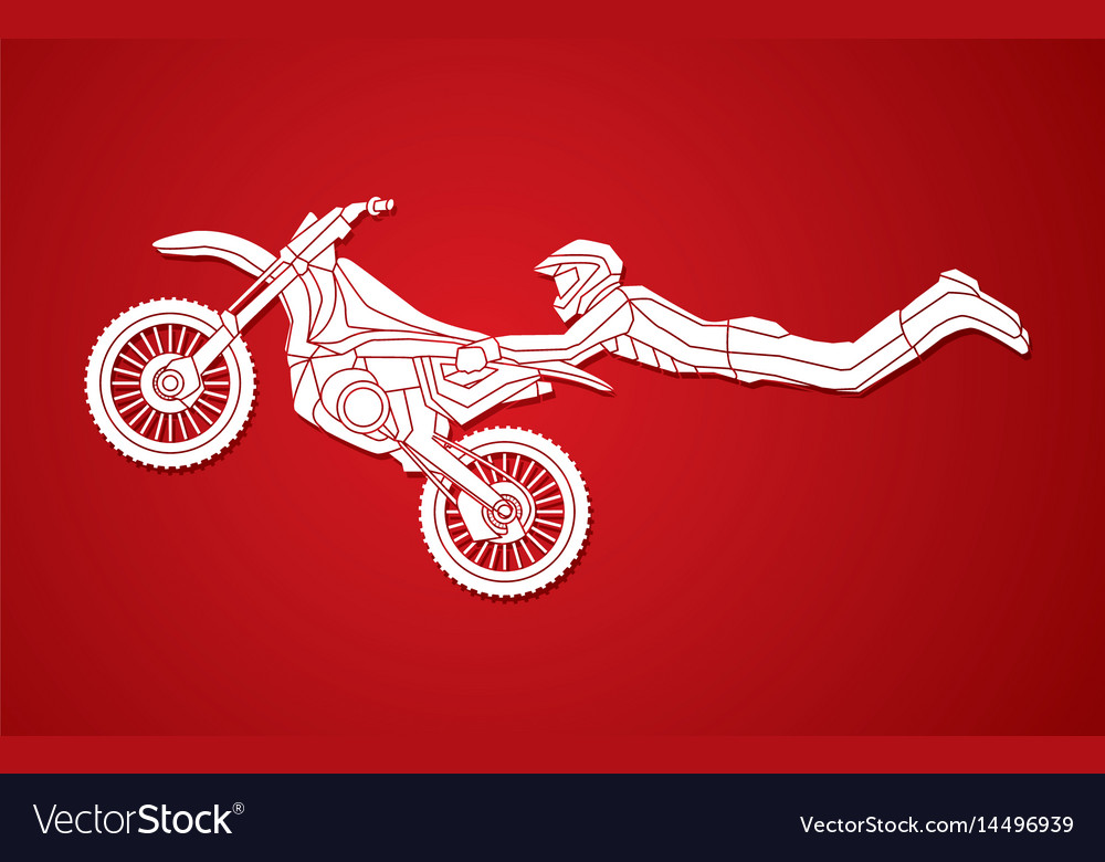 Motorcycle cross jumping freestyle motocross