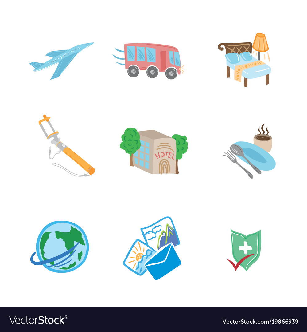 Travel flat sketch icons