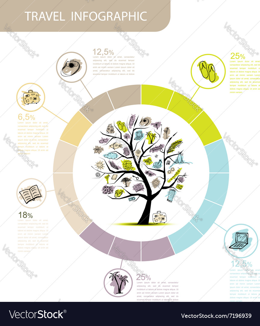 Travel infographic concept tree for your design