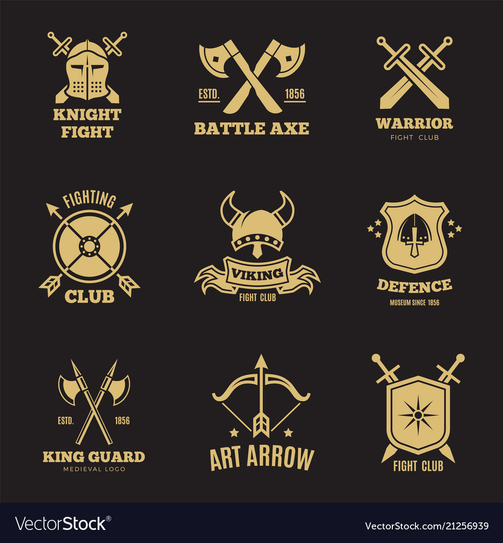 Vintage golden warrior sword and shield labels