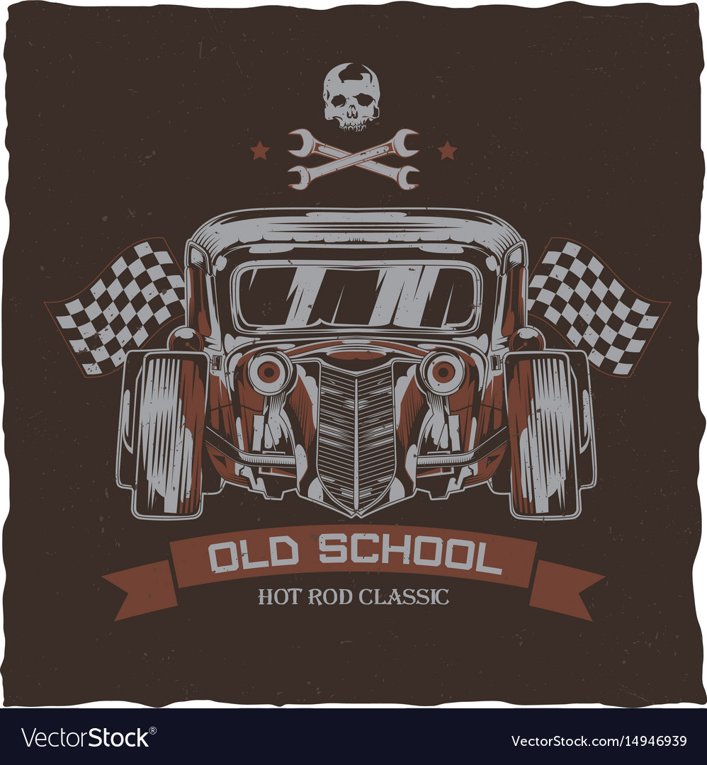 Hot Rod T Shirts >> Vintage Hot Rod T Shirt Label Design Royalty Free Vector