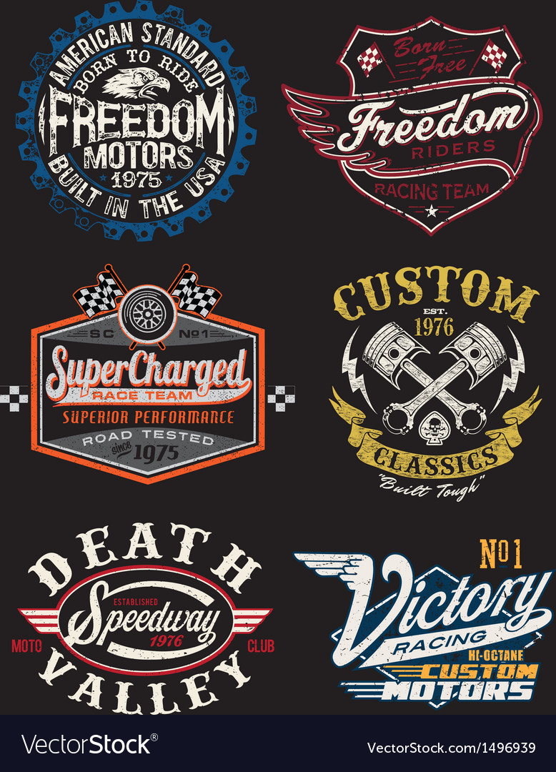 Vintage motorcycle themed badge