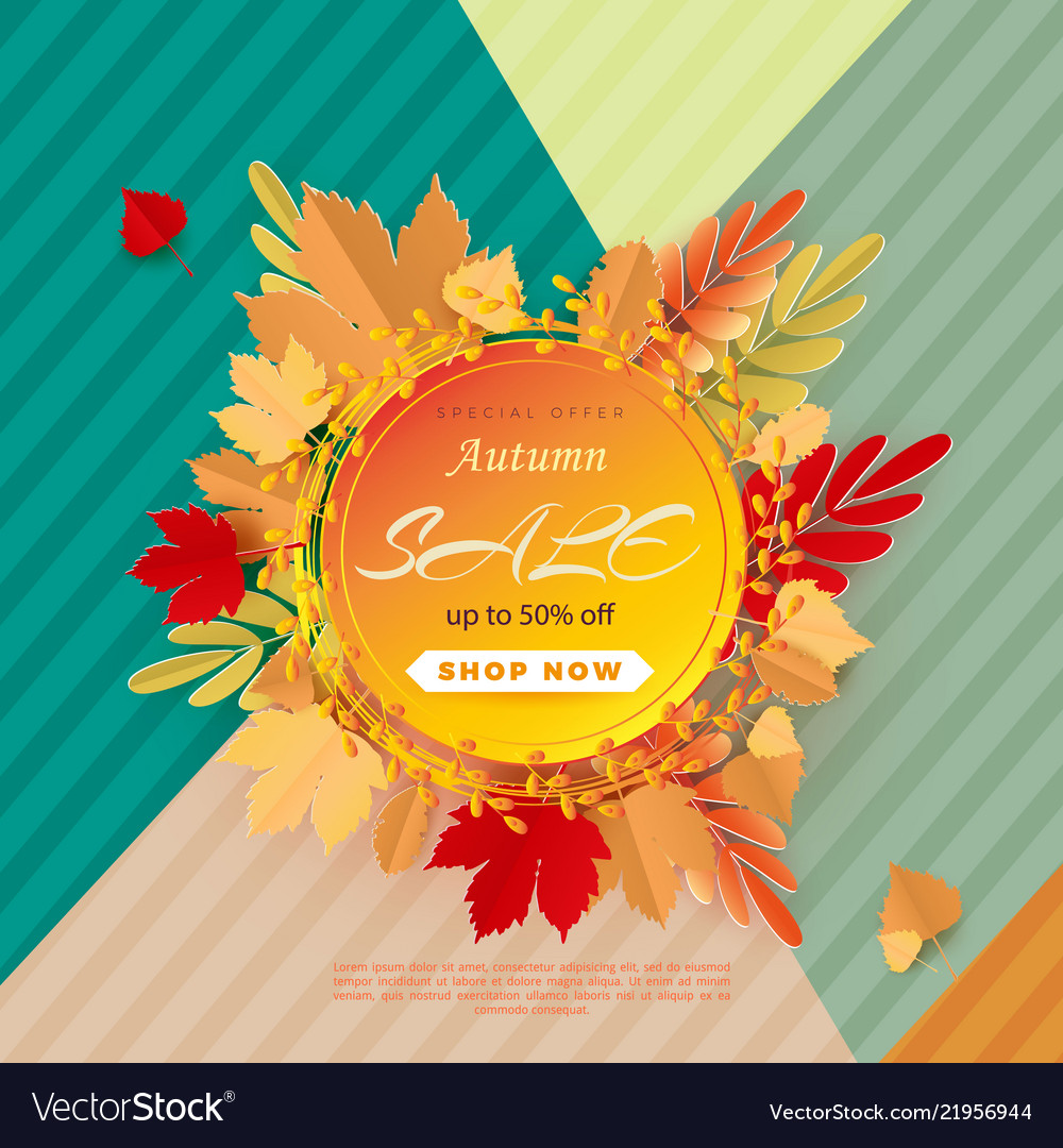 Banner for sale of autumn with colorful seasonal