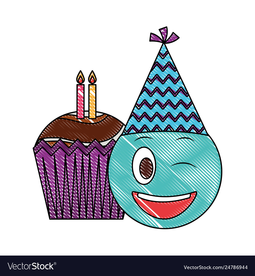 Birthday Emoji With Party Hat And Cupcakes Candles Vector Image