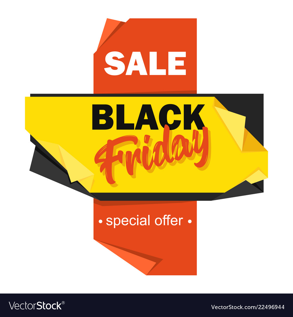 Black friday advertising price tag origami-style