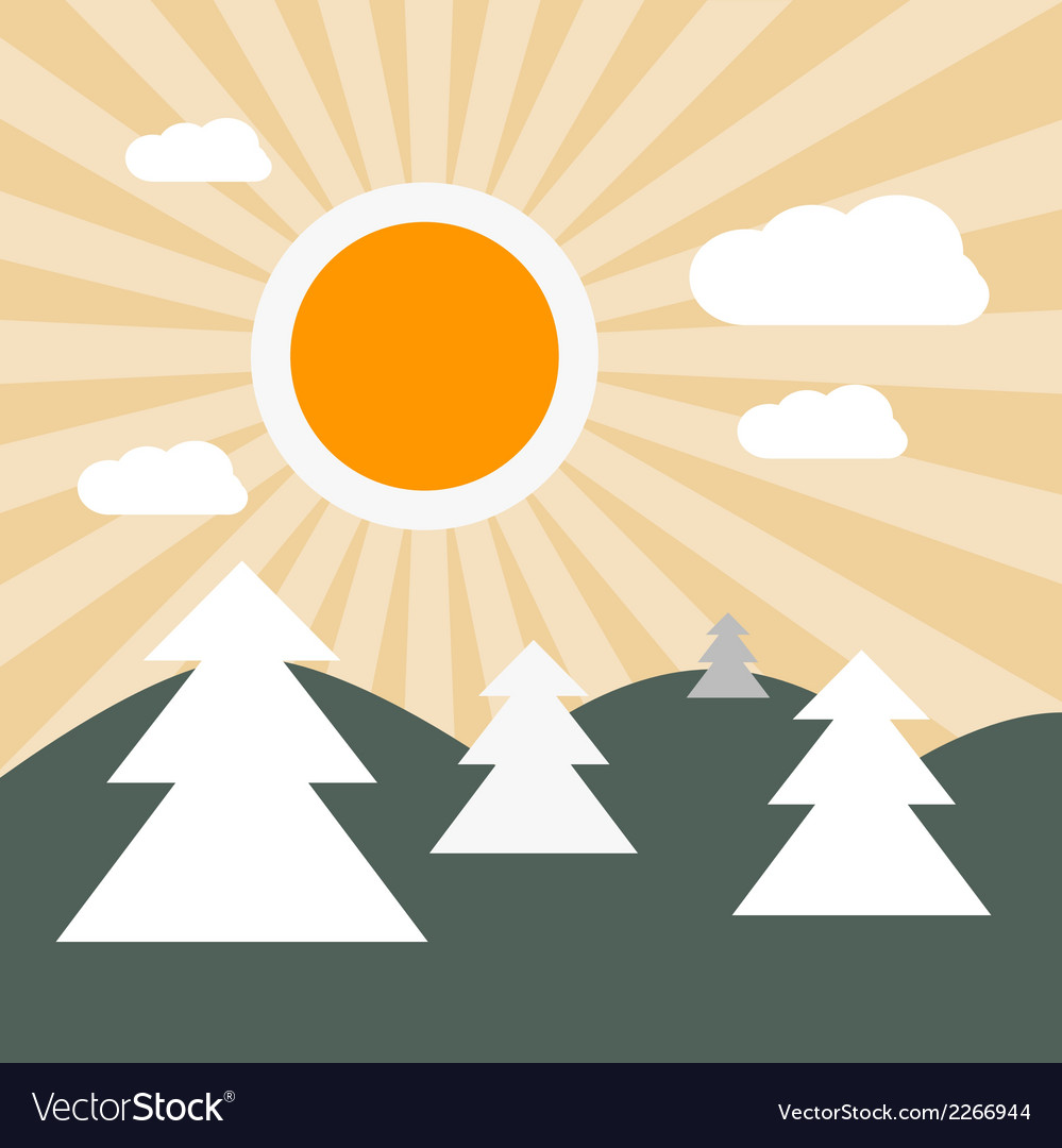 Flat Design Nature Landscape with Sun Hills and Tr