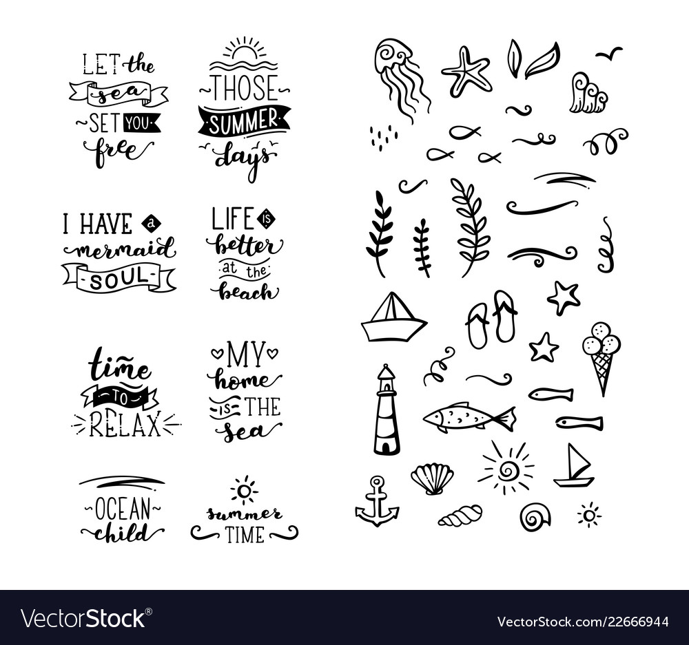 Hand Drawn Quotes About Sea Ocean Summer Vector Image
