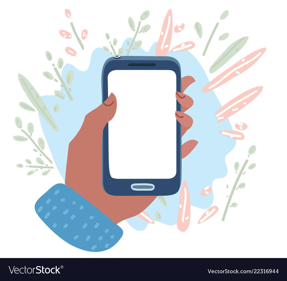 Hand holding cell phone blank on white screen