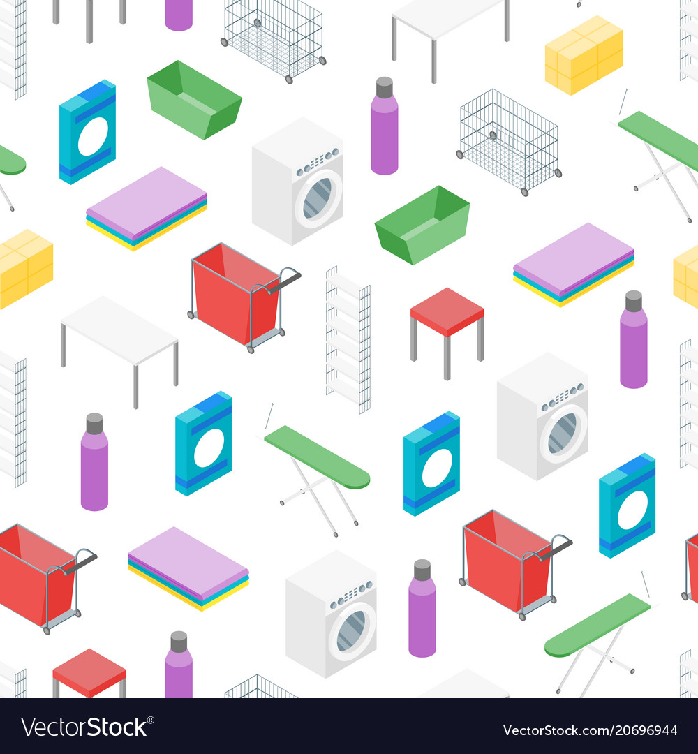 Laundry room concept seamless pattern background vector image