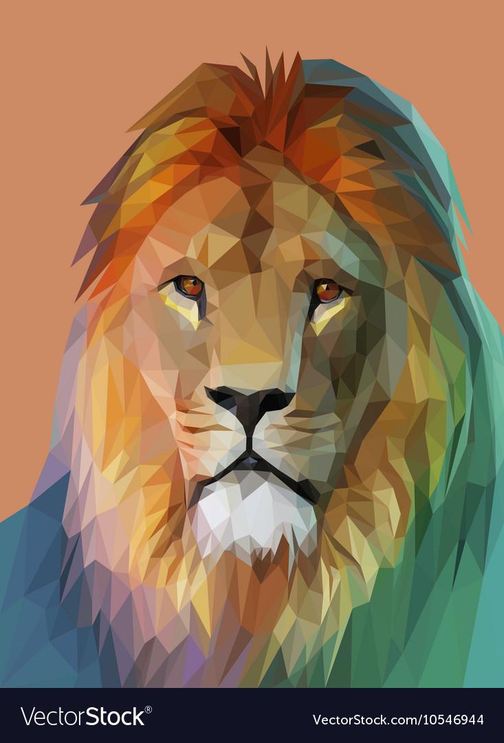 Lion portrait Low poly design eps10