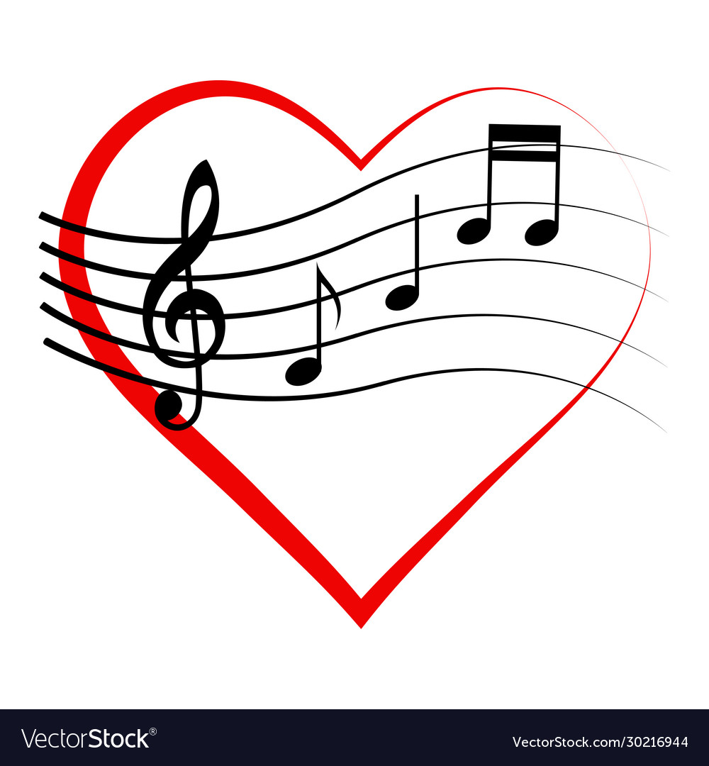 Logo icon heart with notes and treble clef