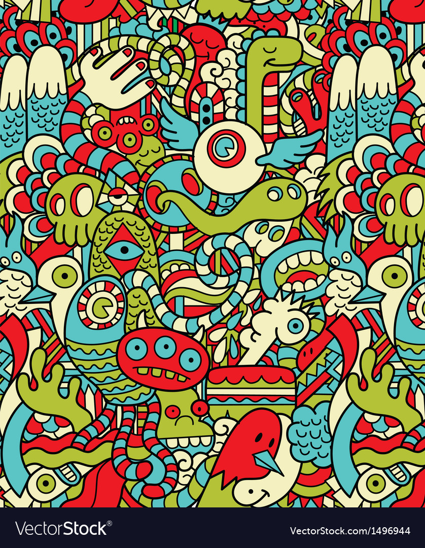 Seamless Hipster Doodle Monster Collage Pattern vector image