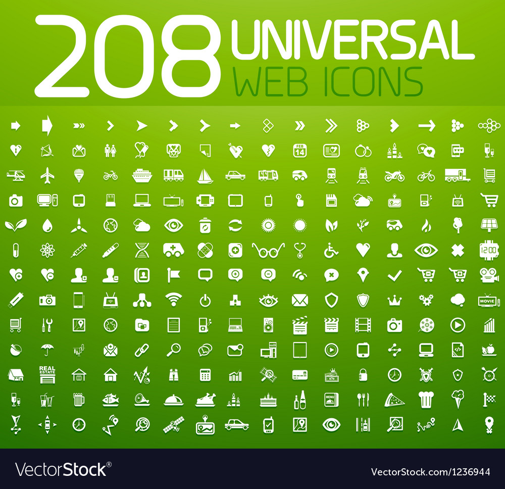 Set of 208 universal icons vector image