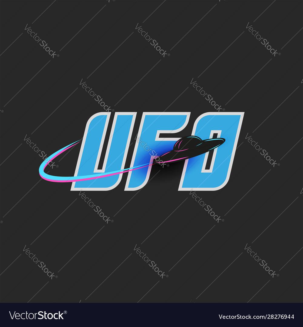 Ufo logo blue lettering for t-shirt print emblem