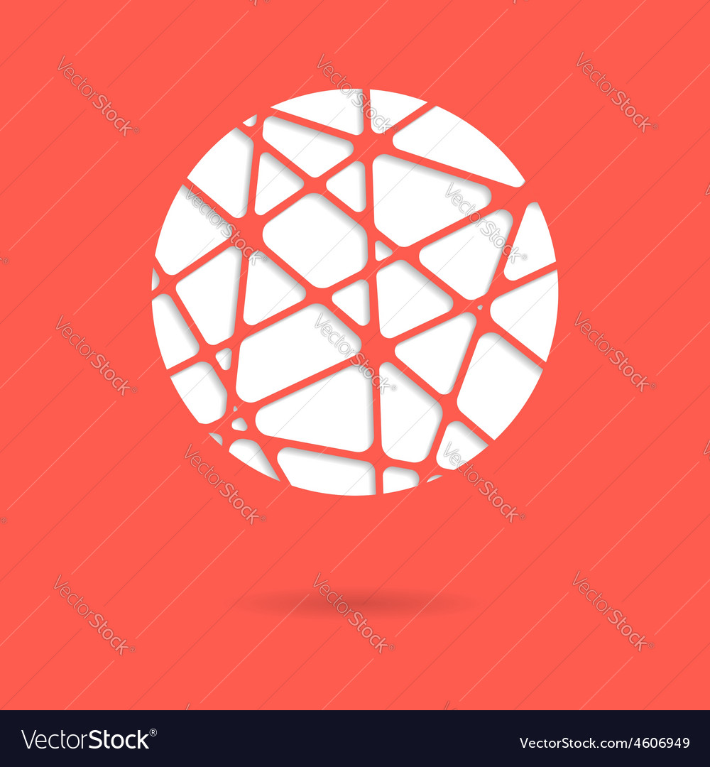 Abstract red mesh ball or circle with shadow
