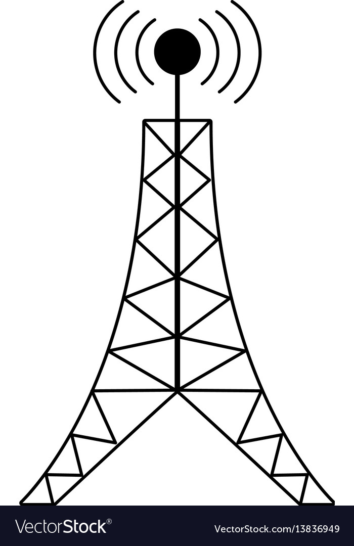 Antenna tower broadcast connection pictogram