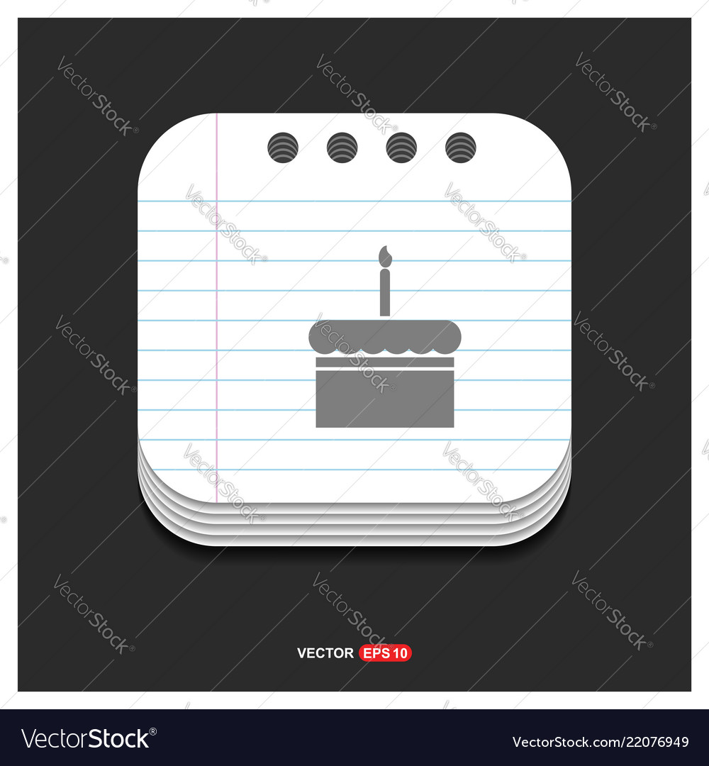 Cake icon gray icon on notepad style template eps
