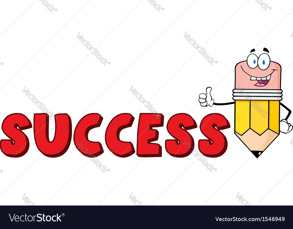 cartoon success pencil school royalty free vector image vectorstock