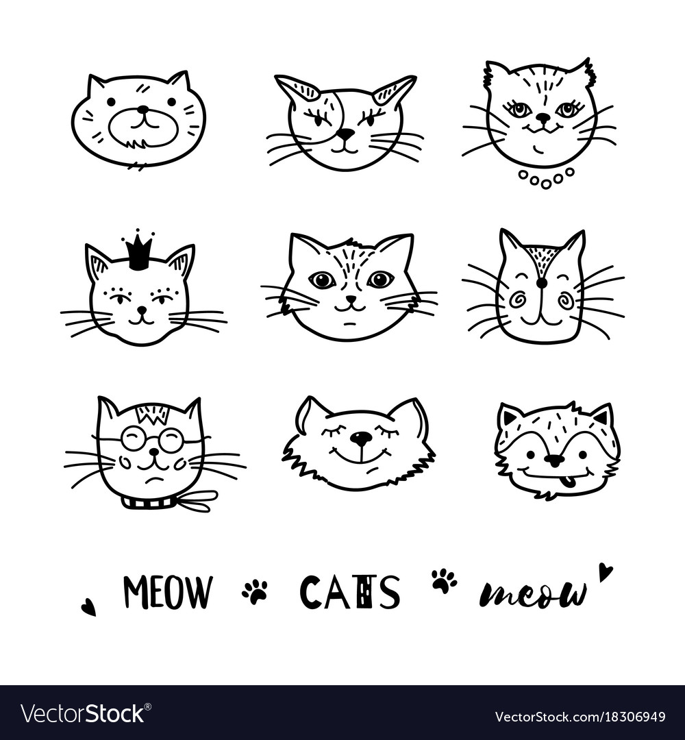 Cat doodle hand drawn cats icons collection