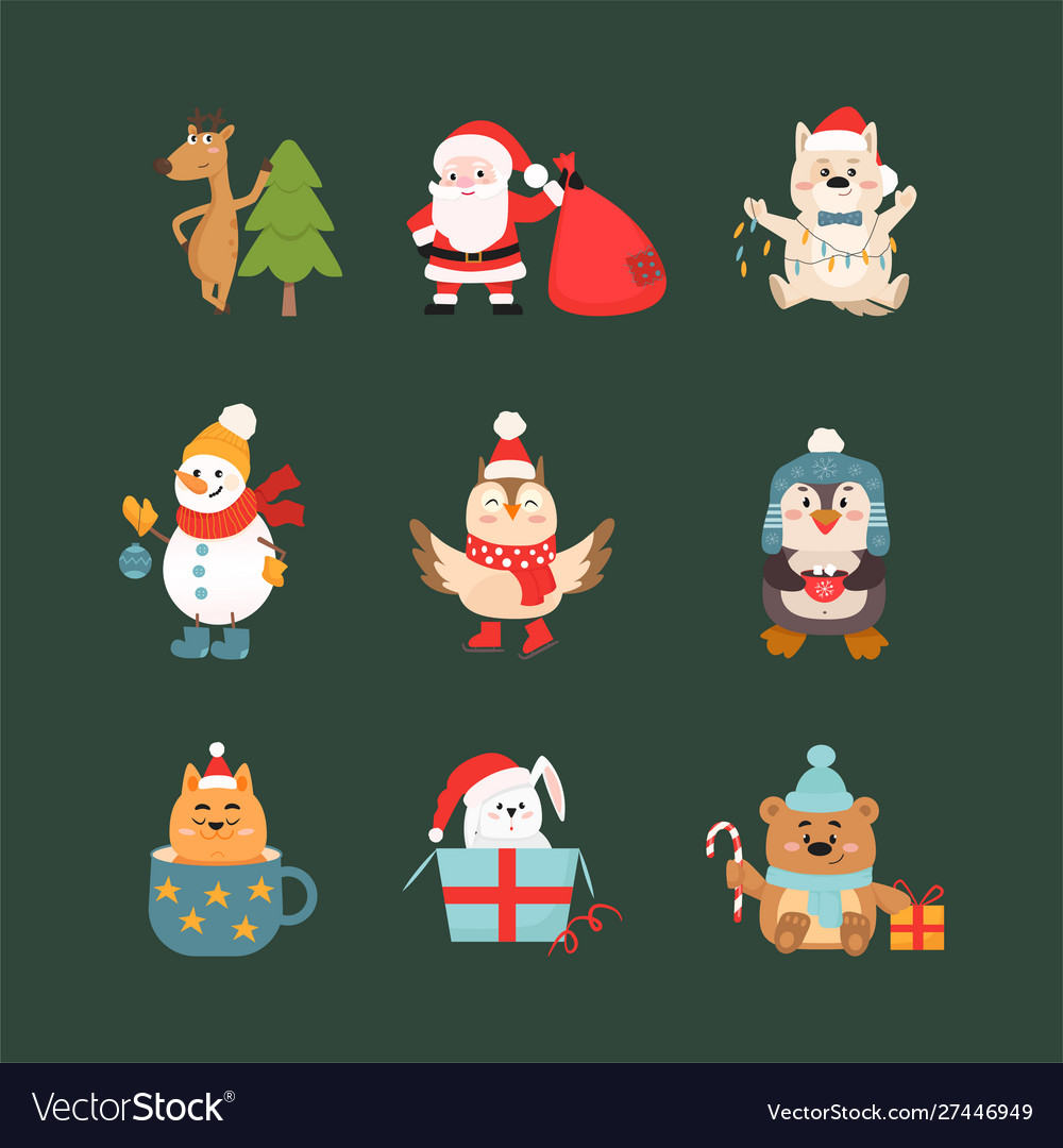 Christmas celebration symbols and animals vector