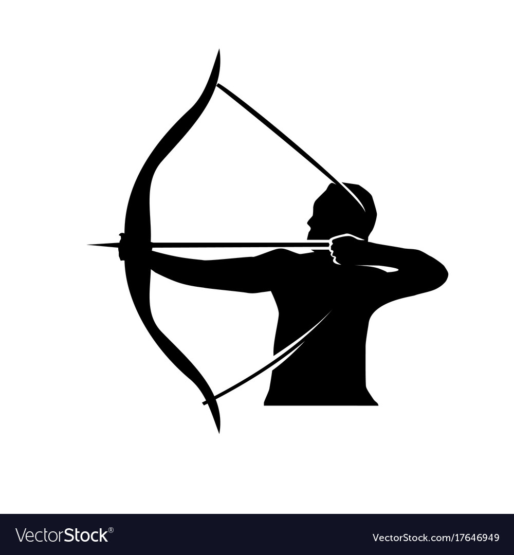 man with bow and arrow royalty free vector image rh vectorstock com cupid bow and arrow vector bow and arrow target vector