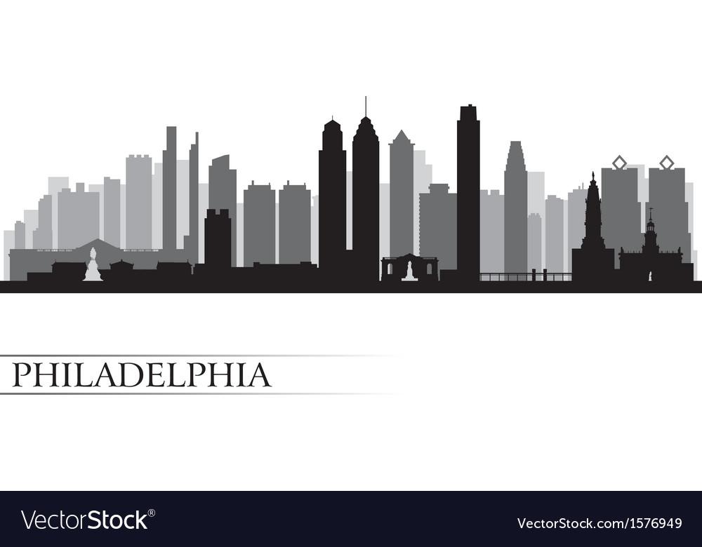 philadelphia city skyline detailed silhouette vector image  vectorstock