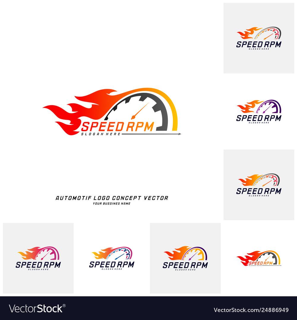 Set speed fire logo design fast speedometer