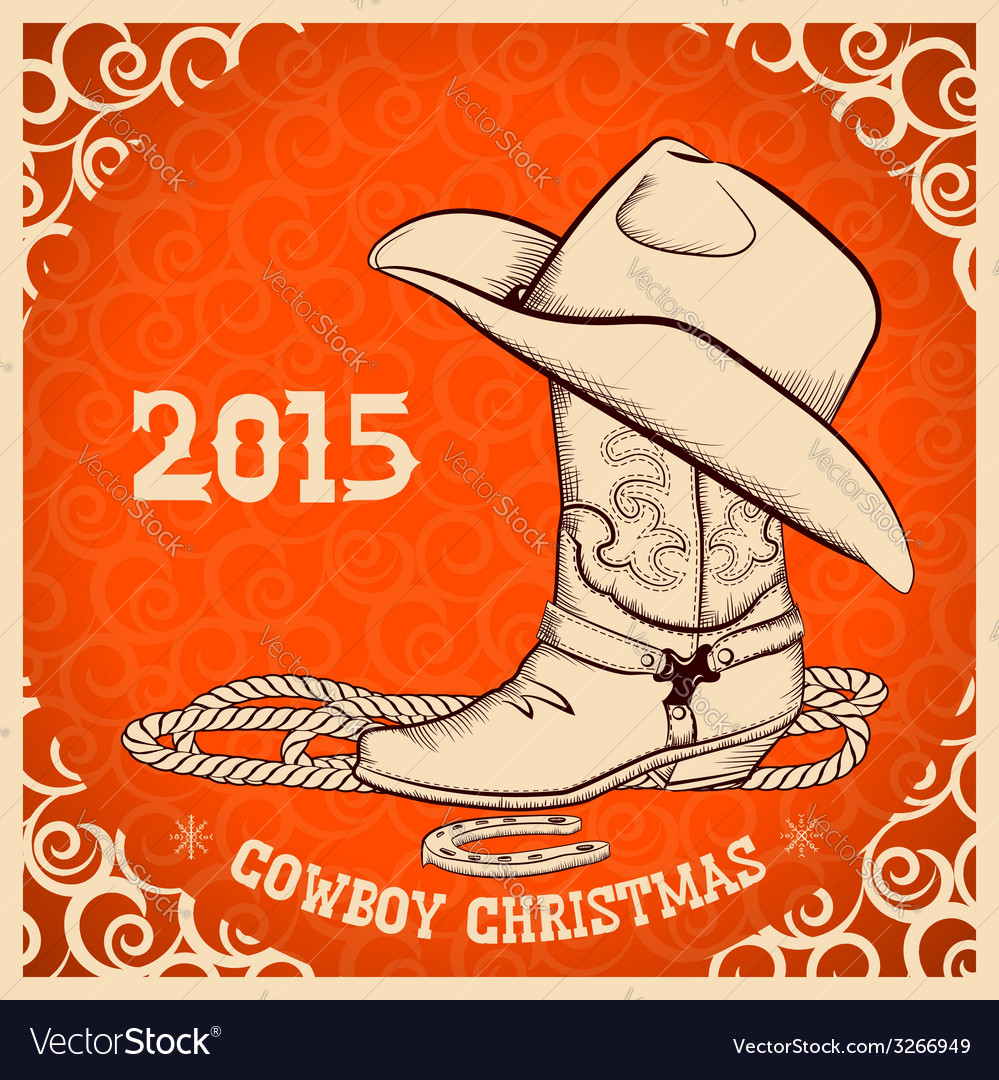 Western New Year greeting card with cowboy objects