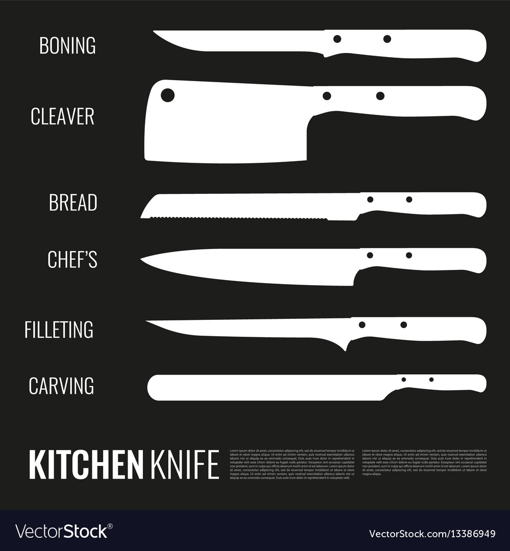 White knives silhouettes set vector image