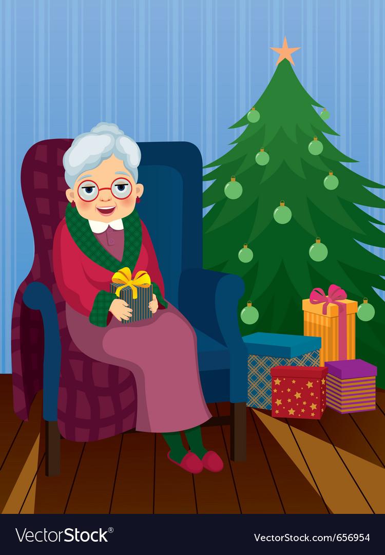 Christmas gift for grandma Royalty Free Vector Image