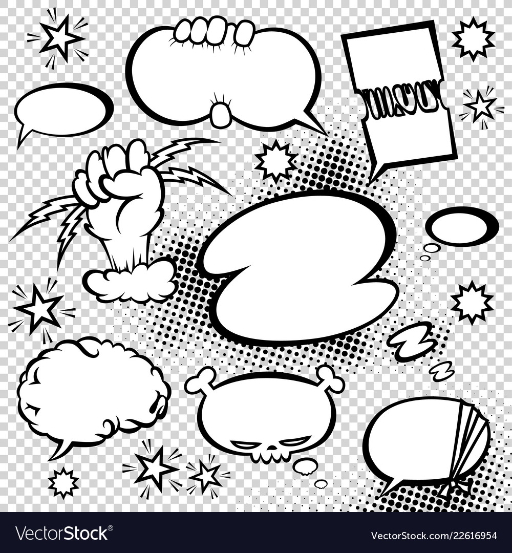 Comic style speech bubbles collection funny