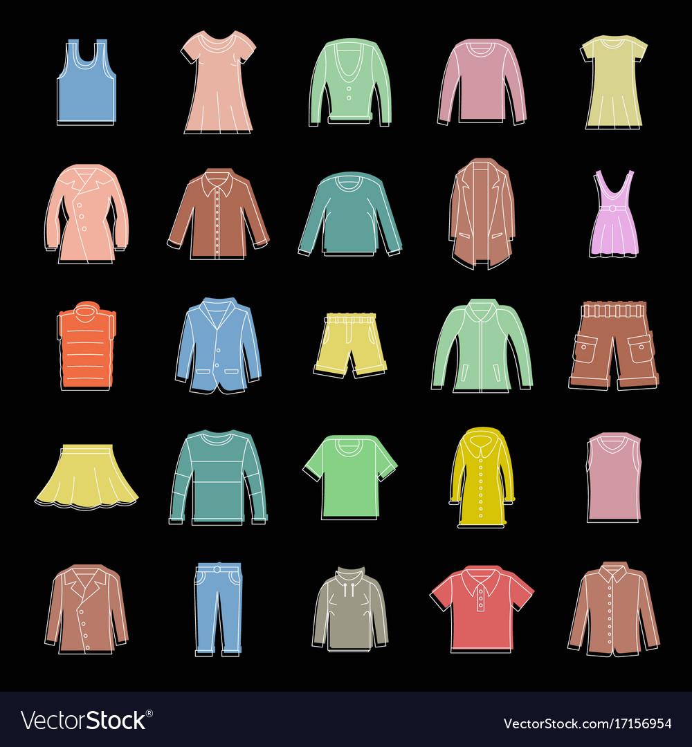 Fashion clothes set doodle for