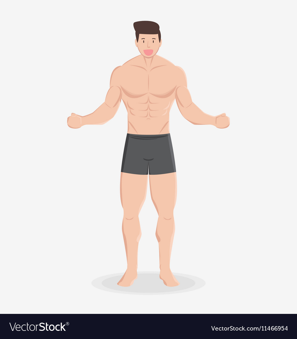 Fitness muscular healthy man stand and smile
