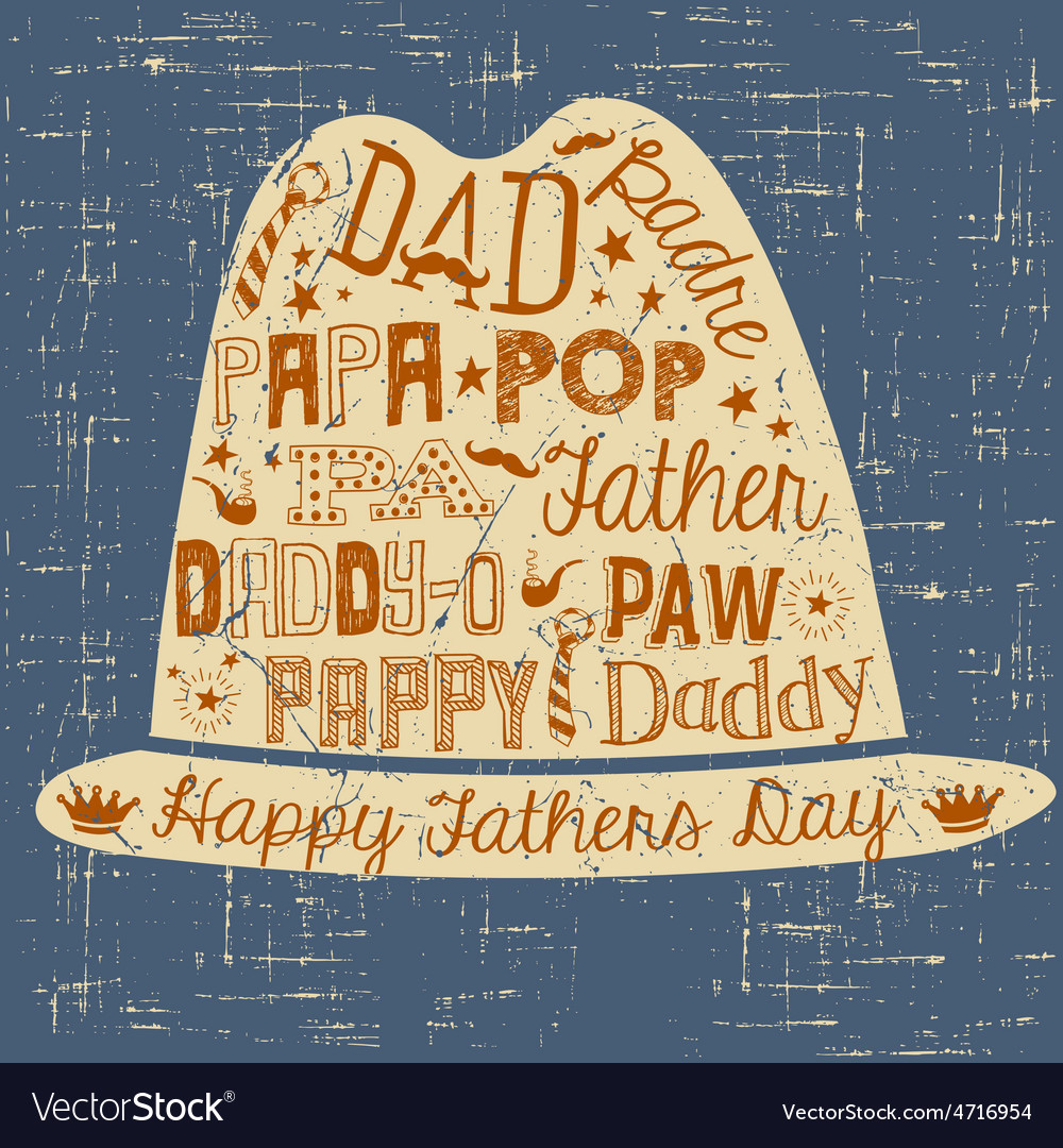 Happy Fathers Day hand drawn card with hat