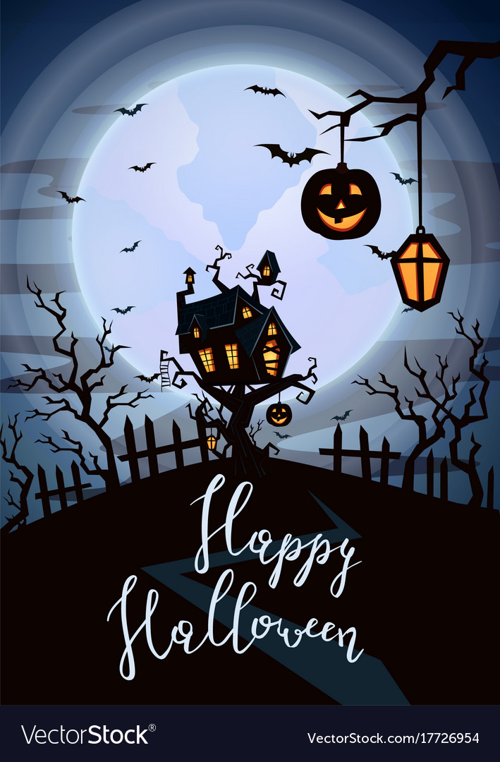 Halloween Spooky Pictures.Happy Halloween Party Poster With Spooky Castle